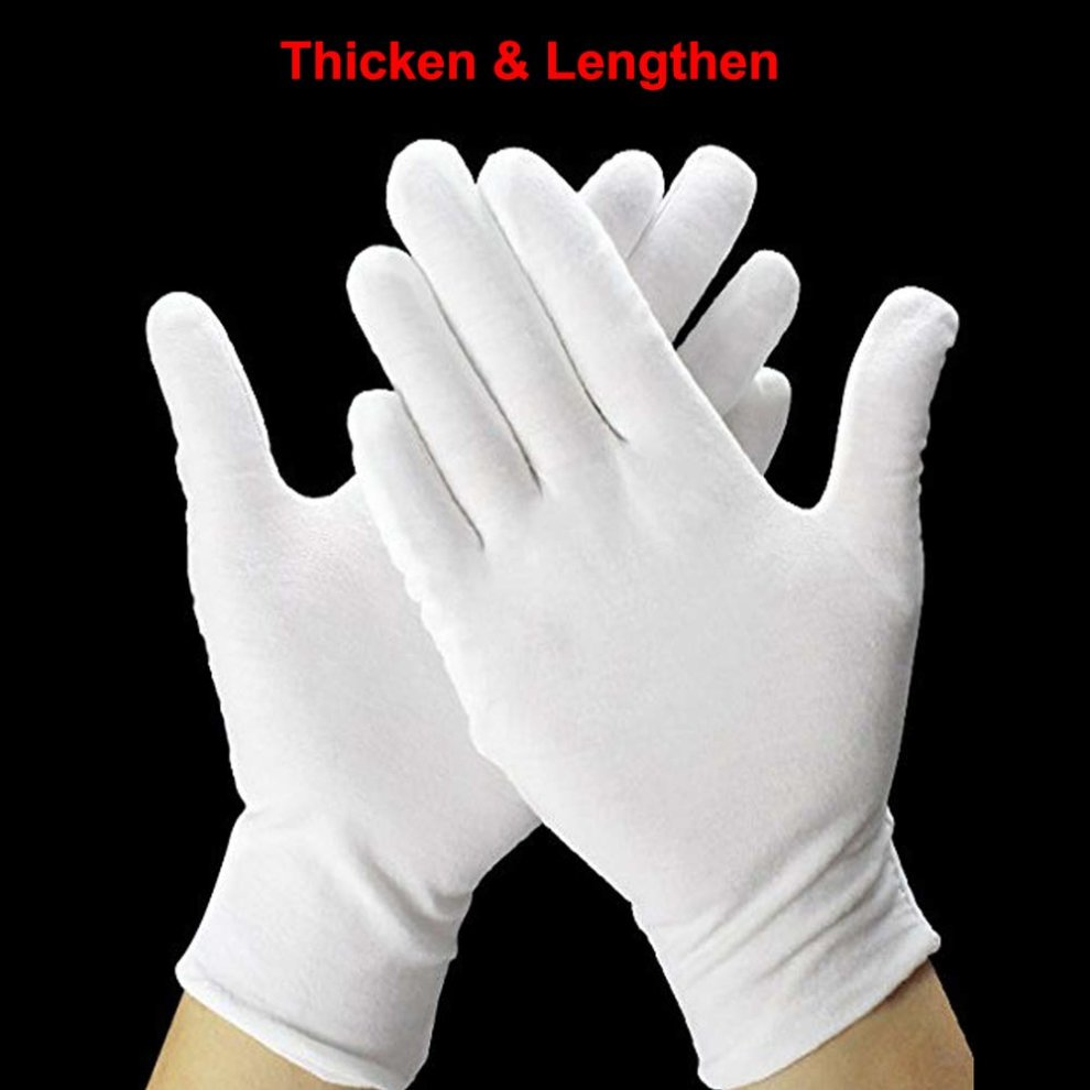 20 Pack White Cotton Gloves 9 8 L Work Gloves Cosmetic Moisturizing Gloves For Dry Hands Eczema Jewelry Inspection And More Large Size
