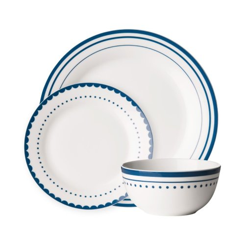 Avie 12Pc Saturn Dinner Set, Blue & White