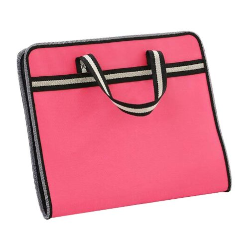 A4 Multilayer Portable Zipper File Pocket Student Papers Briefcase-Rose