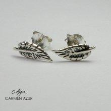 925 Sterling Silver Stud Earrings, Oxidised Leaf Design