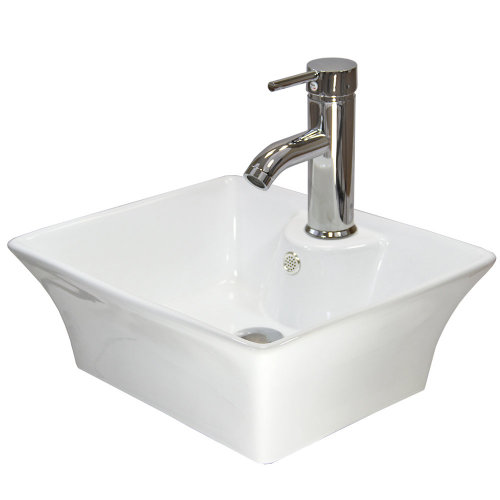 Ceramic Rectangle Countertop Bathroom Sink