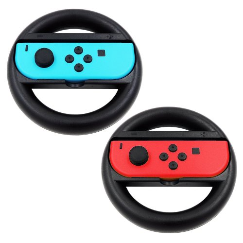 KEESIN Joy-Con Steering Wheel Compatible with Nintendo Switch Controller 2  Pack Remote Dock Wheel Accessory (Black)