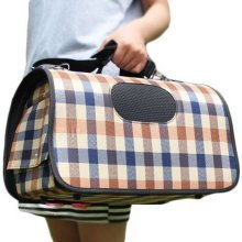 M Size Carry Bag Sweet Cute Pet Home Dog Cat Carrier House Travel---Beige plaid