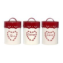 Set of 3 Anglaise Tea Coffee Sugar Canisters - Cream/Red