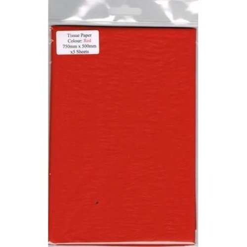 5 Sheets Of Red Tissue Paper 750mm x 500mm