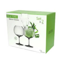 Bohemia Crystal Gin and Tonic Cocktail Balloon Glasses  Gift Set of 2