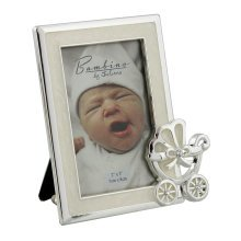 Widdop Silver Plated Photo Frame With Pram Icon In Corner - Bambino Finish -  bambino silver finish photo frame pram icon corner