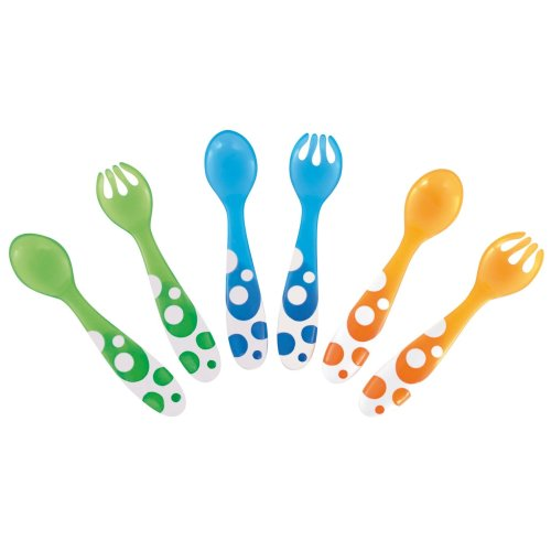Munchkin 6 Pack of Multi-coloured Spoons & Forks