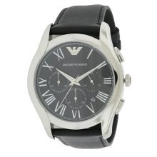 Emporio Armani Black Leather Chronograph Mens Watch AR1700