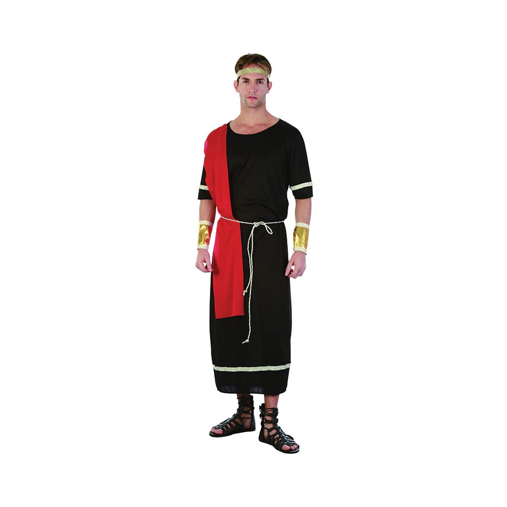 Black Men's Caesar Toga Costume - black toga caesar roman dress fancy  costume mens greek outfit adult god