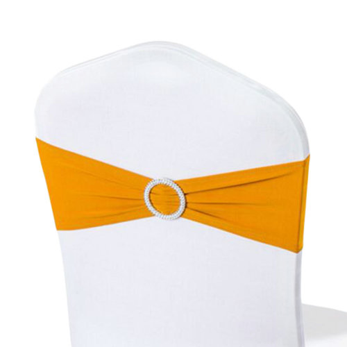 10PCS Chair Back Wedding Bow Sashes Chair Cover Bands With Buckle-Gloden