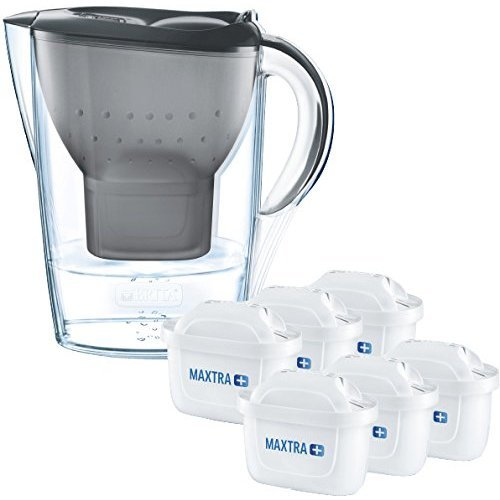 (Grey) BRITA Marella Cool Water Jug & 6 MAXTRA+ Filters