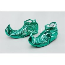 Green Metallic Adults Jester Shoe Covers -  covers shoe christmas elf shoes fancy dress jester green accessory santa all kinds xmas pixie adult