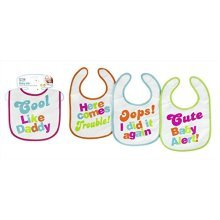 Assorted Design Message Baby's First Steps Rear Velcro Fastening Terry Bib