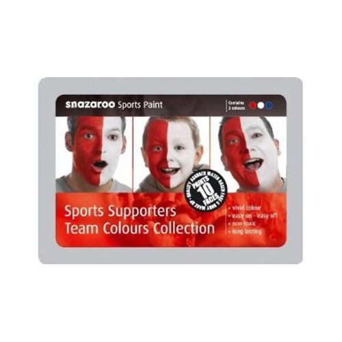 Snazaroo Sports Supporters Red, White & Blue Team Colour Face Paints