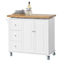 SoBuy® FKW30-WN, Kitchen Storage Trolley Kitchen Cabinet Island with Bamboo Top
