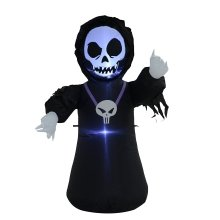 Homcom 4ft / 120cm Inflatable Skull Ghost Scary Halloween Decoration 3 Led Lights Air Blown