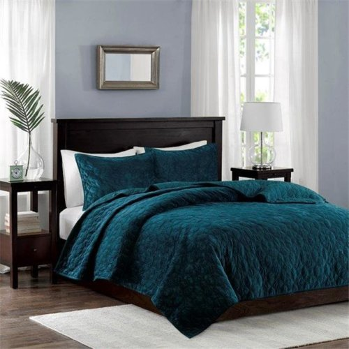 Madison Park MP13-4611 Harper Velvet 3 Piece Coverlet Set - Teal, Full & Queen Size