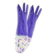 2 Pairs Rubber Cleaning Gloves with Lining Long Dishwashing Gloves Purple Flower