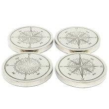 Aluminum Compass Coasters - Set of 4
