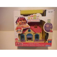 Tiny Dreams Carry Along Mini Doll House with Flip-out Patio Yard and Upper Deck - 18 Pieces of Furniture and Dolls