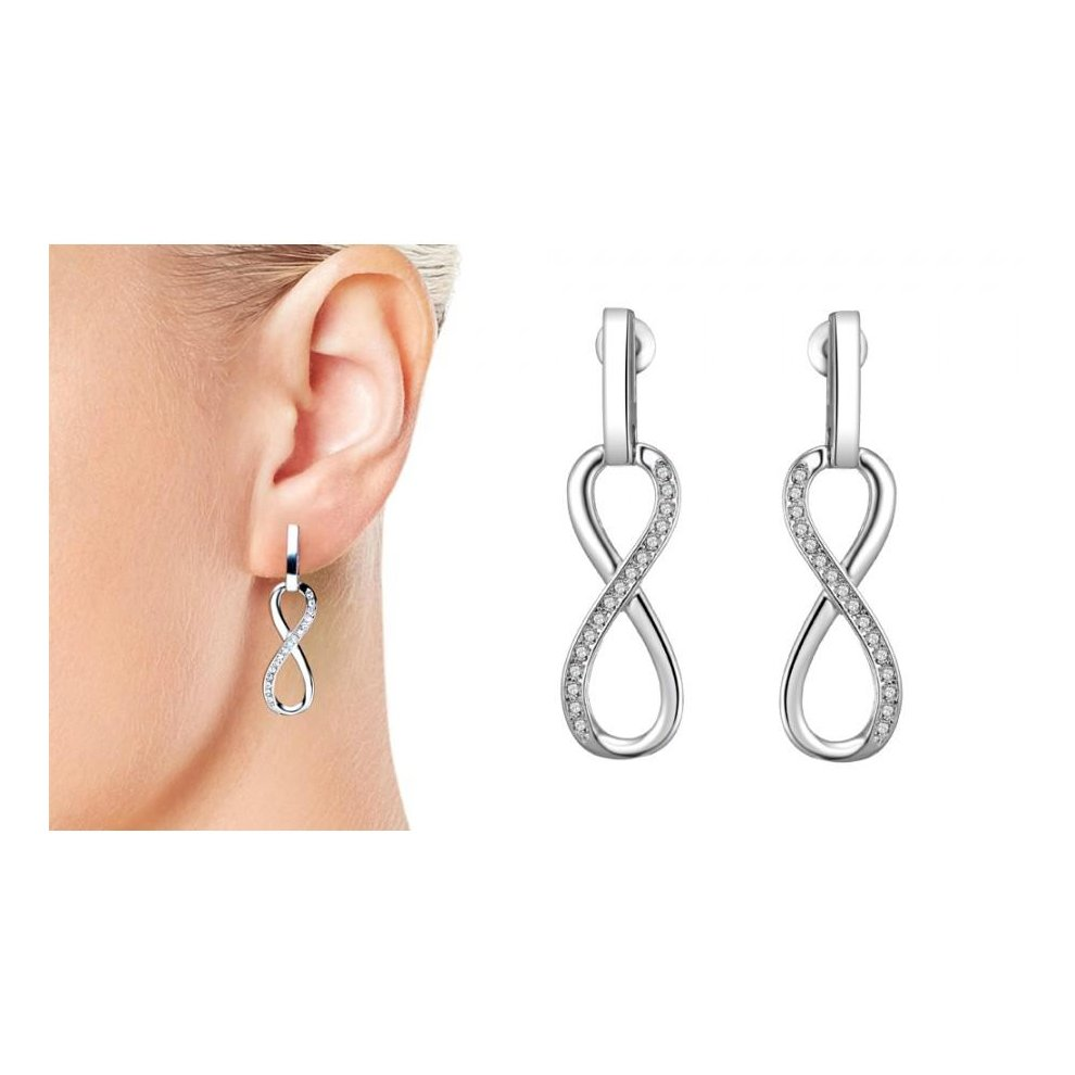 45b0234bc ... Silver Plated Infinity Drop Earrings Created with Swarovski Crystals -  1 ...