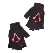 Assassins Creed Unisex Red Brotherhood Crest Fingerless Gloves - Black