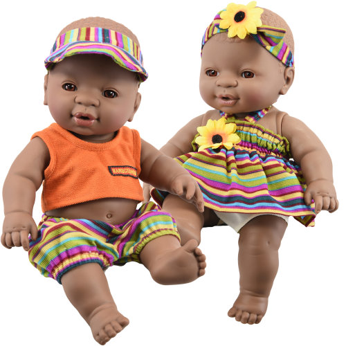 "12"" Realistic Lifelike Vinyl Black Dark Skin Twin Dolls Ethnic African"
