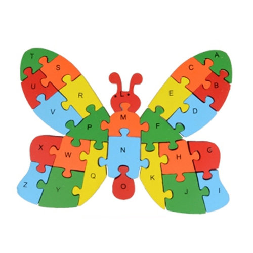 Wooden Block Animal Letter Figure Baby Early Childhood Puzzle Toy ( Butterfly )