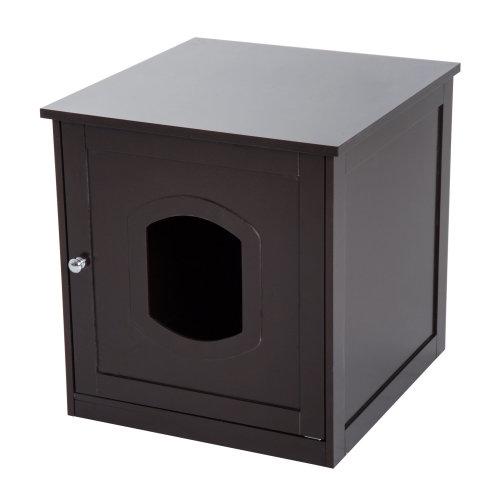 PawHut 2 in 1 Wooden Litter Box Toilet Cat Pet House 51 x 51 x 48.5 cm - Dark Brown
