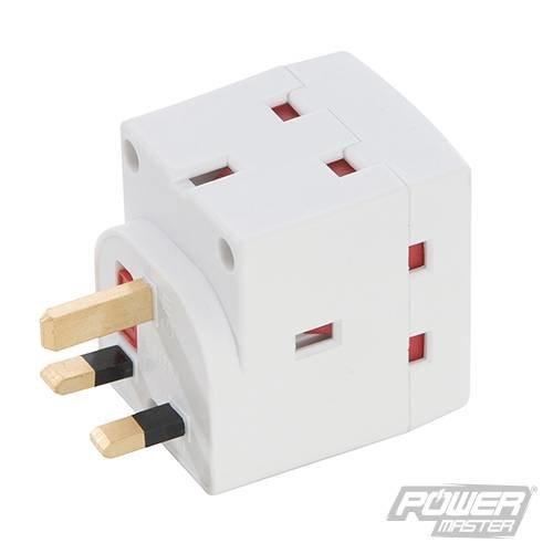 Pmaster 3-gang Socket Adaptor 240v 13a 240v - Socket Adaptor 13a 240v 3way -  socket adaptor 13a 240v 3way 3gang silverline max extension mains