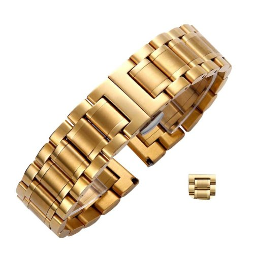 Golden Yellow Steel Wrist Replacement Straight Cut Butterfly Clasp Watch Band/Strap