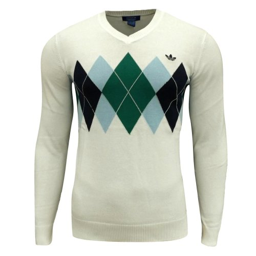 adidas Originals Men's/Boy's Argyle Golf V Neck Jumper Off White
