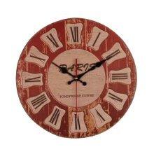 [B] 14 Inch Vintage Wooden Wall Clock Decorative Silent Wall Clock