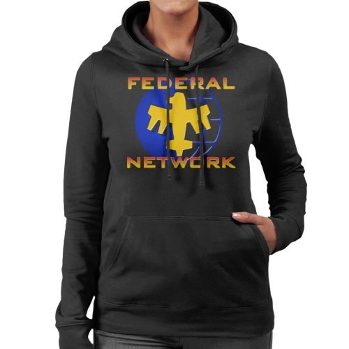 Starship Troopers Federal Network Gold Blue Logo Women's Hooded Sweatshirt