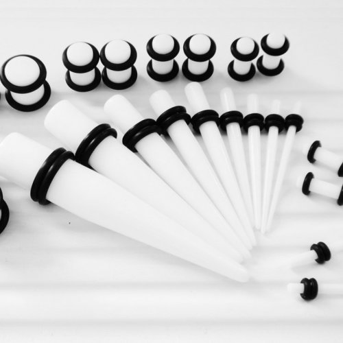 TRIXES 28pc White Ear Stretcher Kit Including Tapers and Plugs