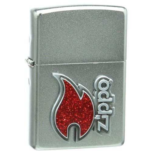 Red Flame Satin Chrome Zippo Lighter