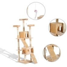 Pawhut Cat Tree Kitten Kitty Scratching Post Climbing Tower Activity Center Cream