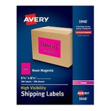 Avery-Dennison Ave5948 5.5 X 8.5 In. High-Visibility Shipping Label, Magenta, Pack Of 200