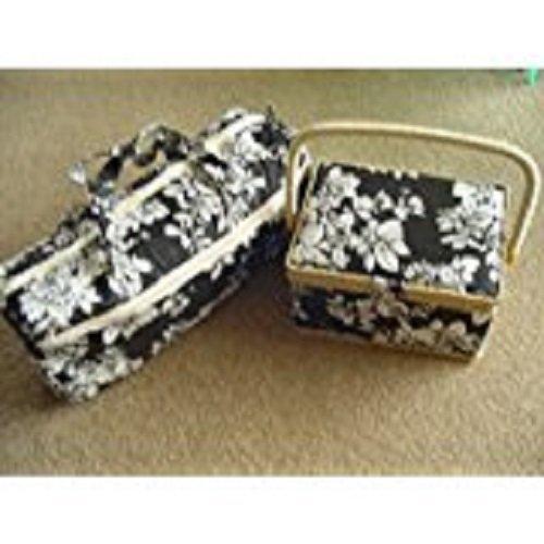 Black and White Rectangular Sewing Box and Zipped Knitting Storage Bag