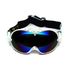 White Print Ski Goggles Blue Coated Lens Dual-layers Snow Goggles for Adult