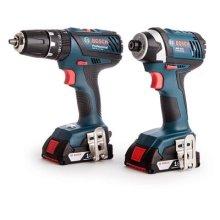 Bosch Professional GSB 18-2-LI Plus Cordless Combi Drill + GDR 18-LI Cordless Impact Driver with Two 18 V 2.0 Ah Lithium-Ion Batteries - L-Boxx