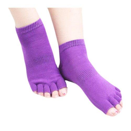 Cotton Toe Yoga Socks Non Slip Home Warm Purple Socks