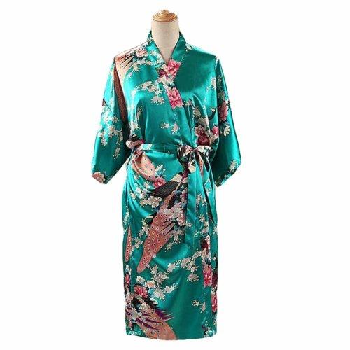 f6b181706e Green - Peacock Blossoms Women s Long Bathrobe Kimono Robe Silk-like  Pajamas on OnBuy
