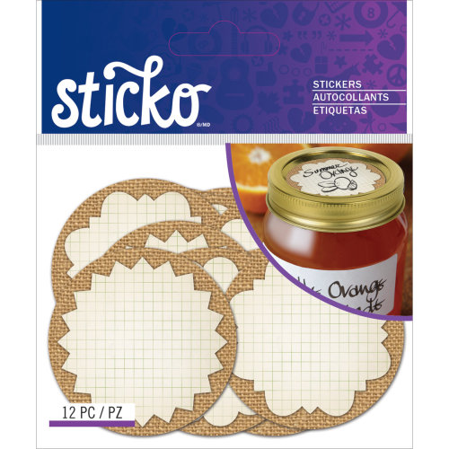 Sticko Label Stickers-Burlap Mason Jar Labels