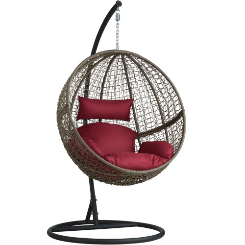 Poly rattan hanging chair with round frame brown