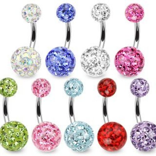 Crystal Cluster Epoxy Coated Smooth Ferido Double Disco Ball Belly Bar