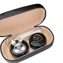 Leather Contact Lens Case Eye Care Kit  Holder Personality Gift