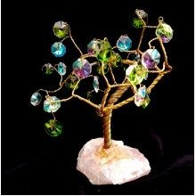 Cut Crystal Tree with Rose Quartz Base Ornament
