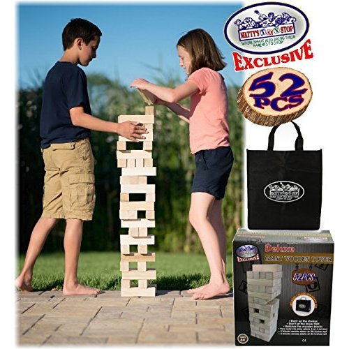 Matty s Toy Stop Giant Wooden Tower Deluxe Stacking Game with Storage Bag 52 Pieces 2 Ways to Play Starts at 23 or 30